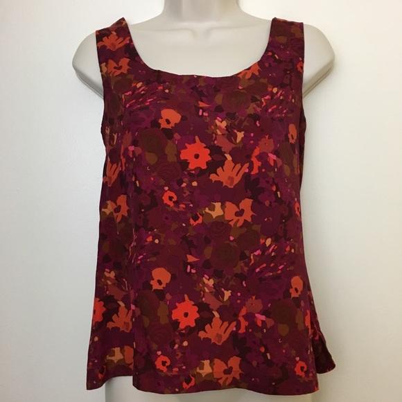 LOFT Tops - 🎈3/$20 LOFT Wine Floral Sleeveless Tank Blouse